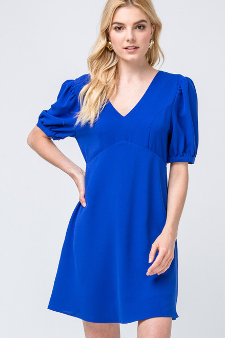 Elegant V-Neck Dress, Royal Blue