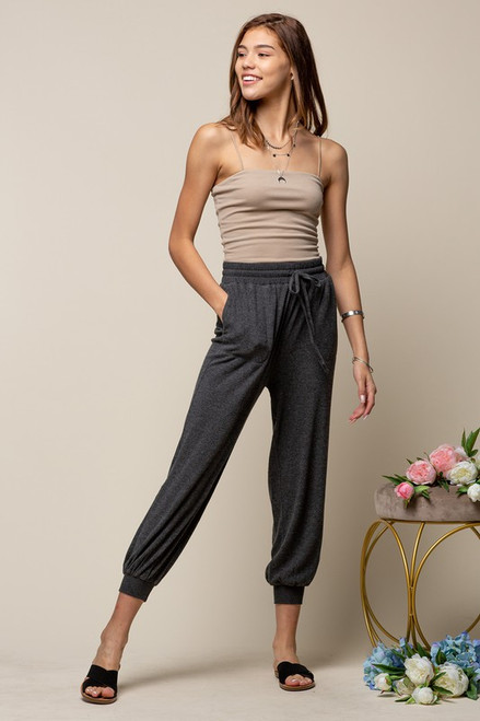 Brushed Comfy Joggers, Charcoal
