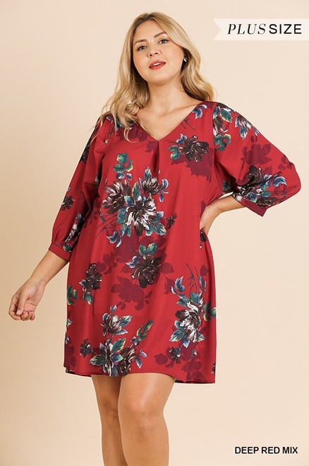 Curvy Floral Puff Sleeve Dress, Deep Red
