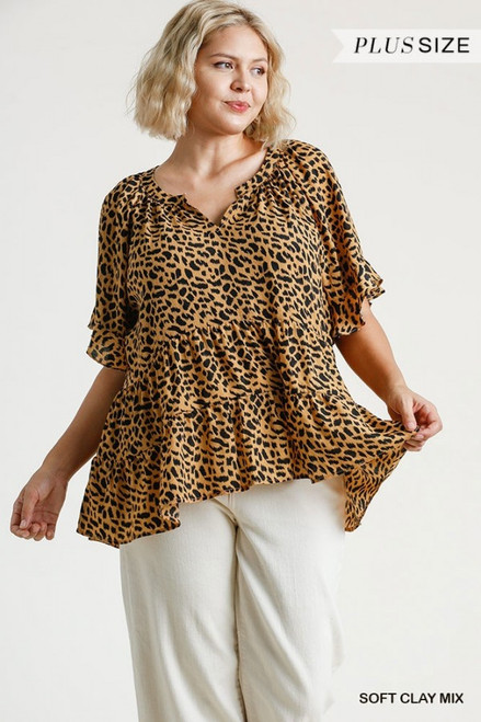Curvy Animal Print Tiered Top, Soft Clay Mix