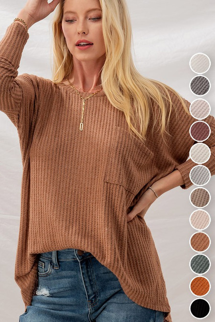 Waffle Knit Oversized Dolman Sleeve Top, Brown
