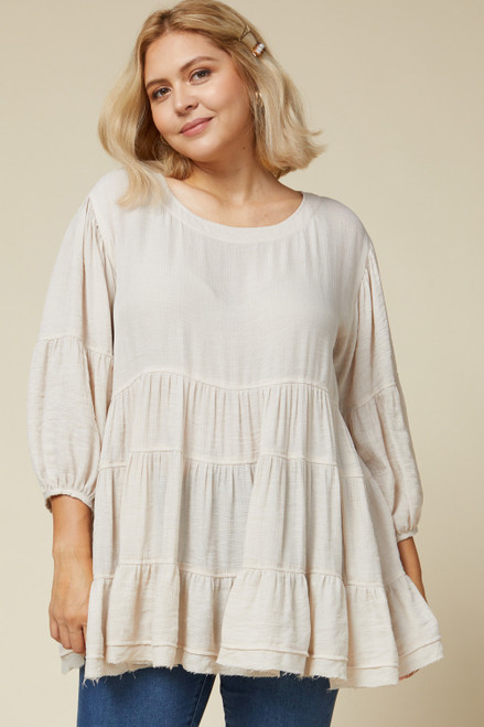Curvy Solid Scoop Neck Tiered Top, Oatmeal