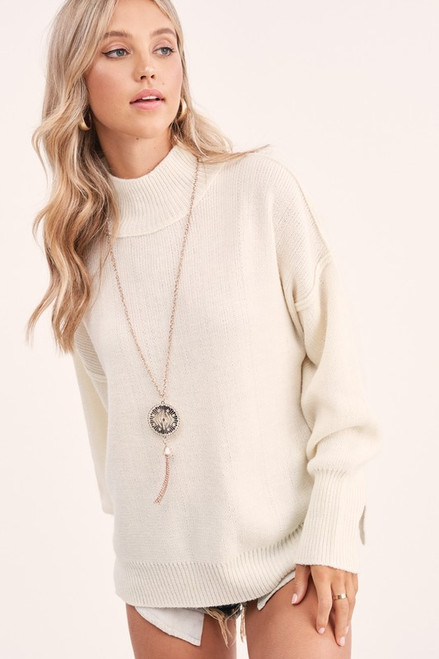 Loose Fit Turtleneck Sweater, Ivory