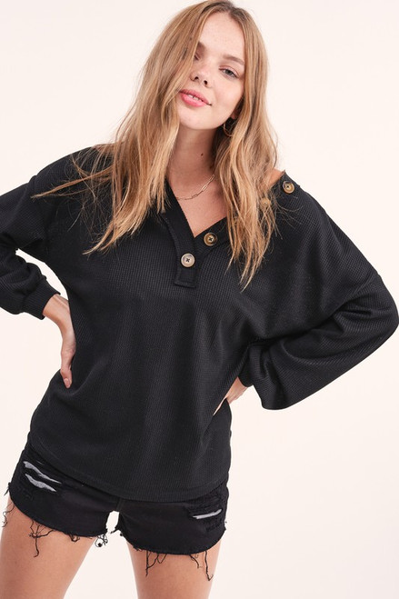 Button Detail V-Neck Waffle LS Top, Black