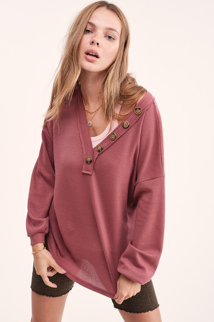 Button Detail V-Neck Waffle LS Top, Marsala