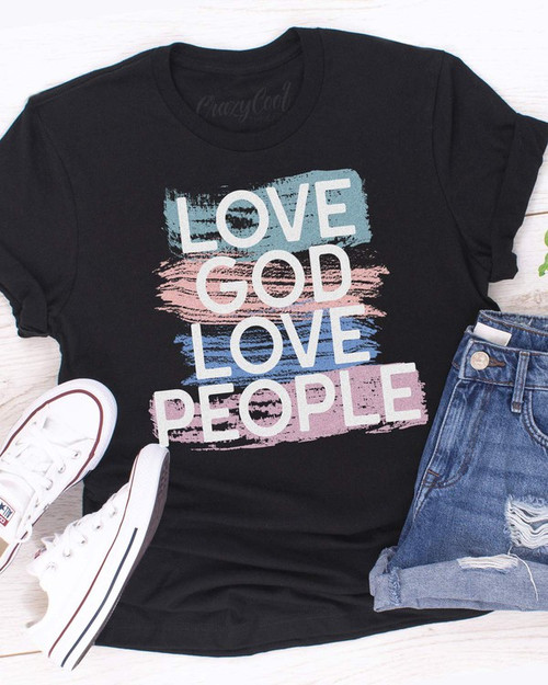 Love God Love People Tee, Black