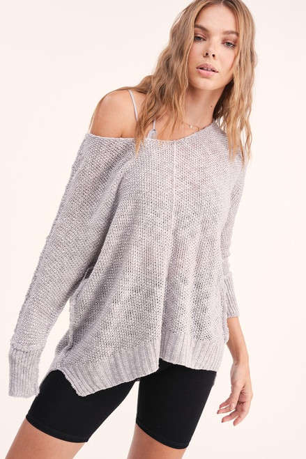 Open Knit Lightweight Sweater, Silver