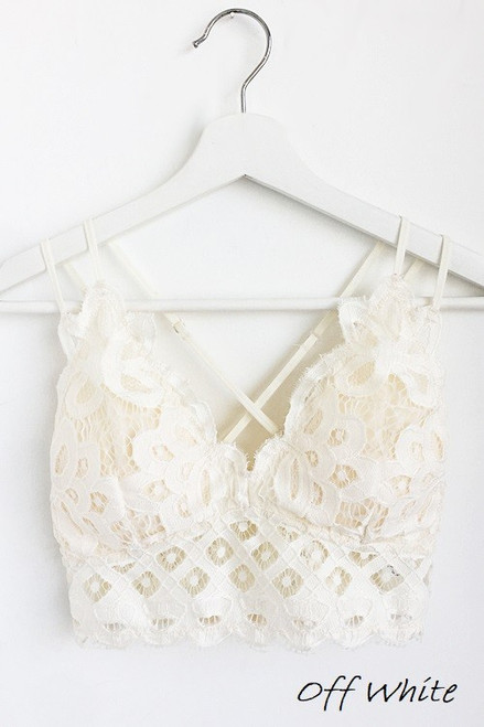 Curvy Scalloped Lace Bralette, Off White