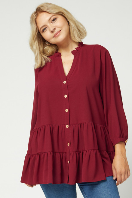 Curvy Button Up Tiered Top, Burgundy