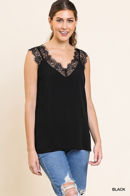 Sleeveless Floral Lace Cami Top, Black