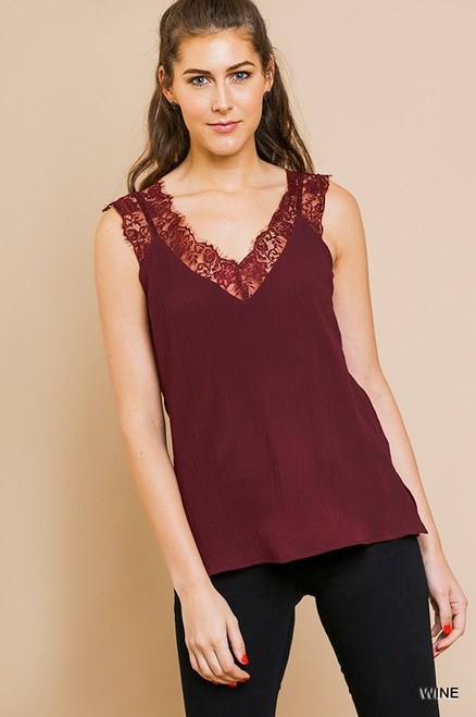 Sleeveless Floral Lace Cami, Wine