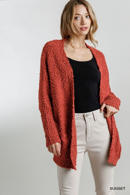 Open Front Cardi Sweater w/ Pockets, Sunset