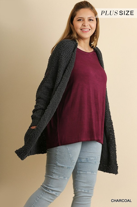 Curvy Open Front Cardi Sweater w/ Pockets, Charcoal
