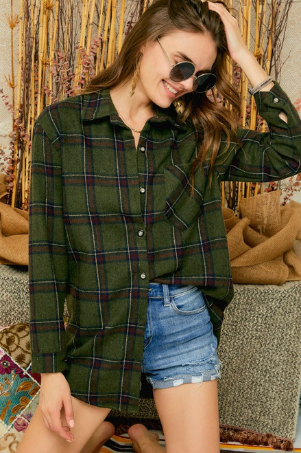 Check Flannel with Pocket, Green