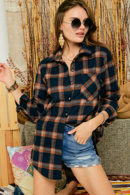 Check Flannel with Pockets, Blue