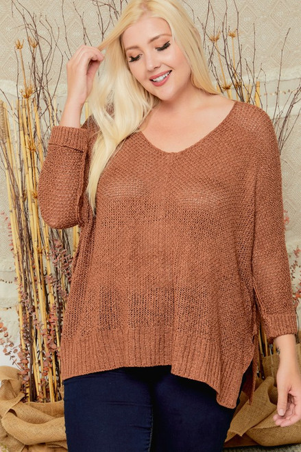 Curvy Open Knit Sweater w/ Cuff Sleeves, Coco