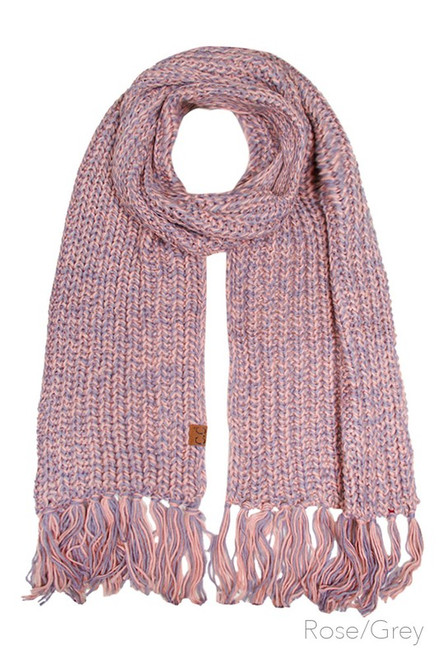 CC Chunky Scarf, Rose/Grey