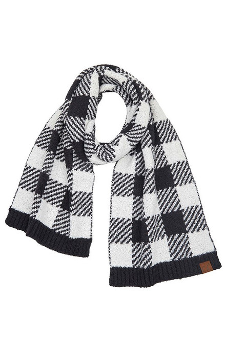 CC Buffalo Check Scarf, Black/White
