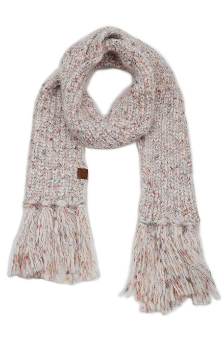 CC Feather Yarn Scarf, Ivory
