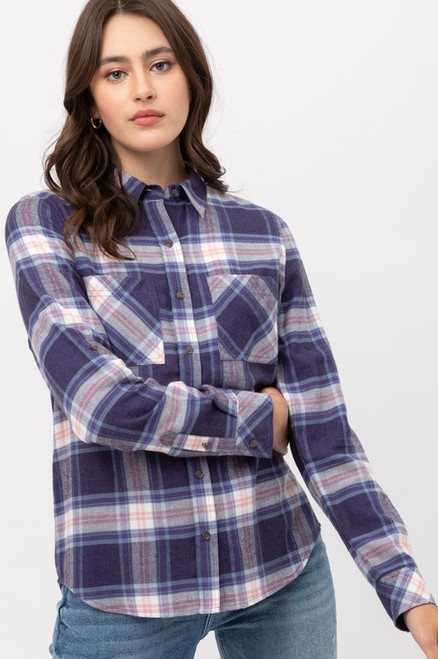 Double Pocket Plaid Flannel, Blue
