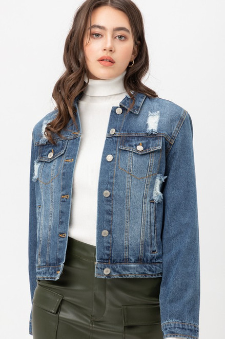 Ripped Vintage Denim Jacket, Blue