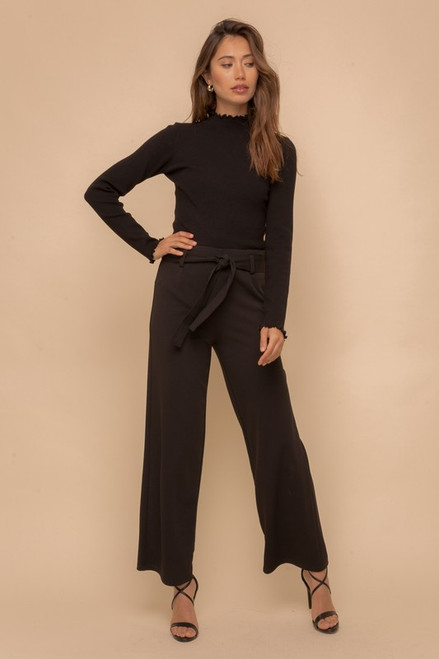 Tie Waist Wide Leg Slacks, Black