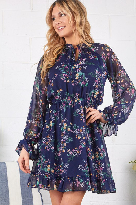 Ruffle Print Floral Dress, Navy