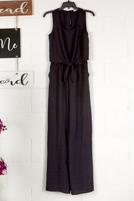 Sleeveless Jumpsuit w/ Front Knot, Black