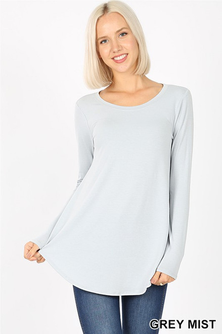 Long Sleeve Round Neck Top, Grey Mist