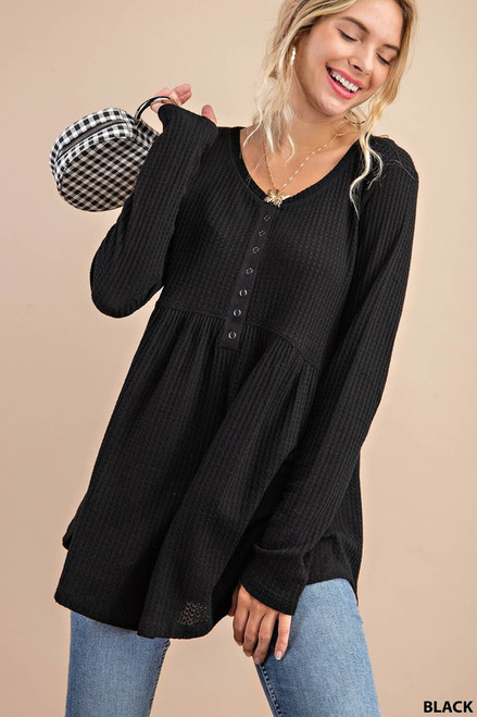 Waffle Knit LS Button Detail Top, Black
