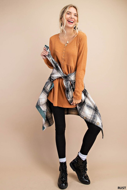 Waffle Knit LS Button Detail Top, Rust