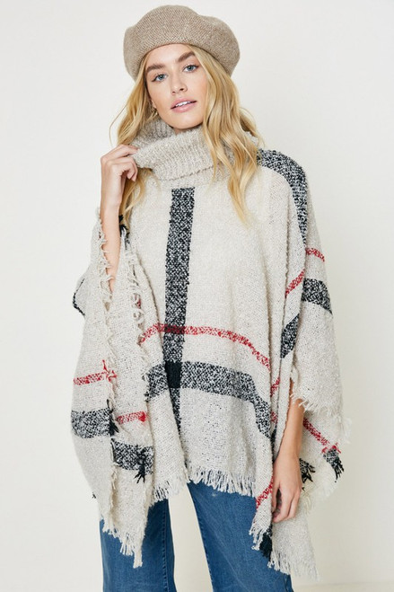 Plaid Turtleneck Poncho, Ivory