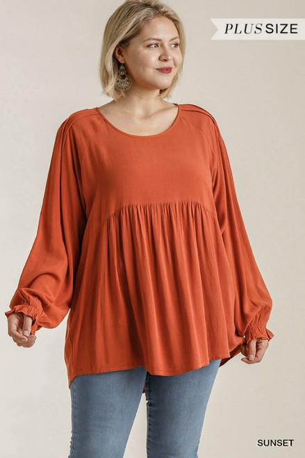 Curvy Long Puff Sleeve Babydoll, Sunset