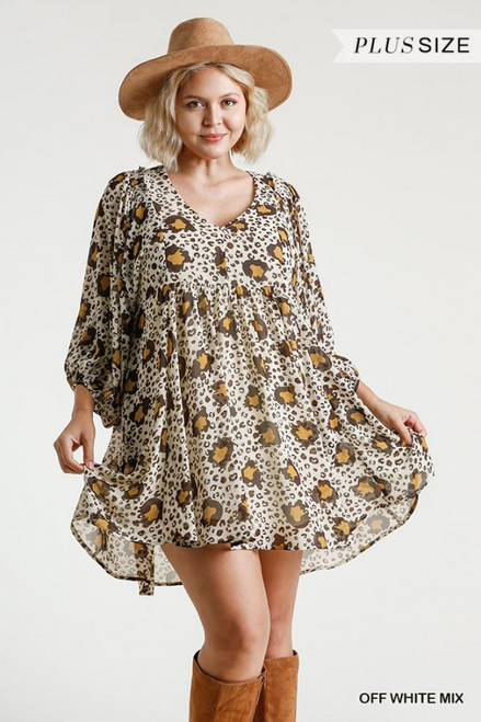 Animal Print Balloon Sleeve Dress, Off White Mix