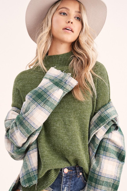 Loose Fit Turtleneck Sweater, Olive