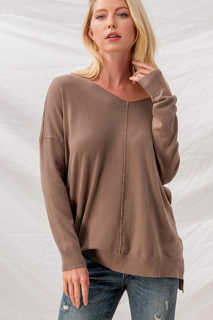 Soft High-Low Tunic Sweater, Mocha