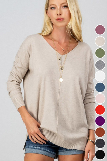 Soft High-Low Tunic Sweater, Oatmeal