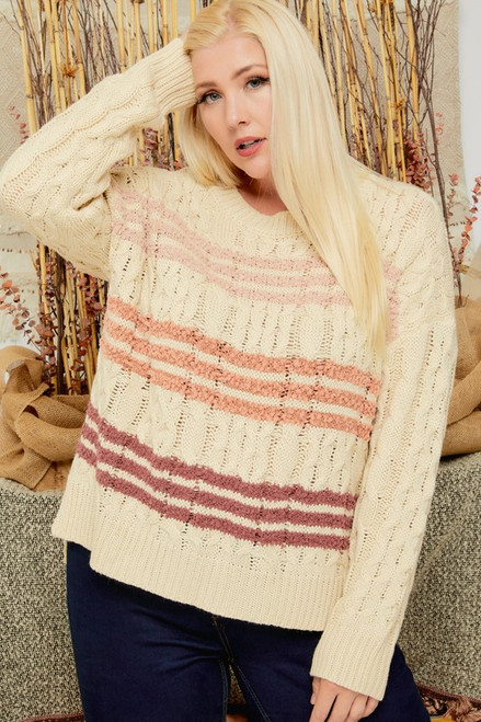 Curvy Striped Cable Knit Sweater, Beige