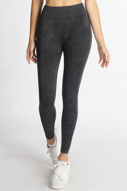 Seamless Leggings w/ Side Ladder, Vintage Black
