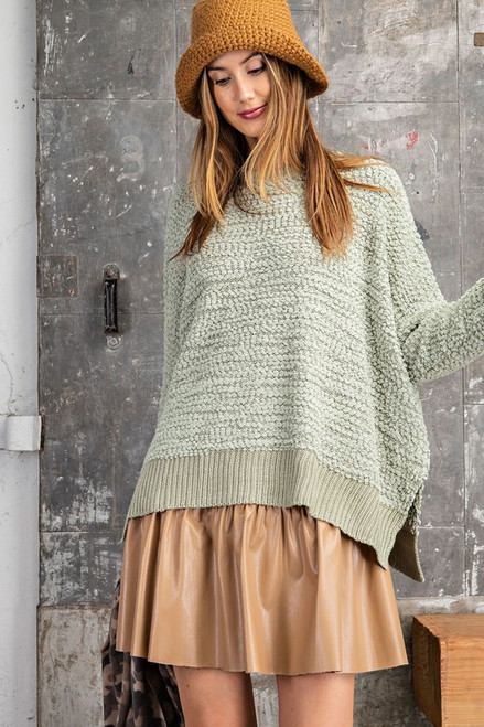 Popcorn Knitted Sweater, Faded Sage