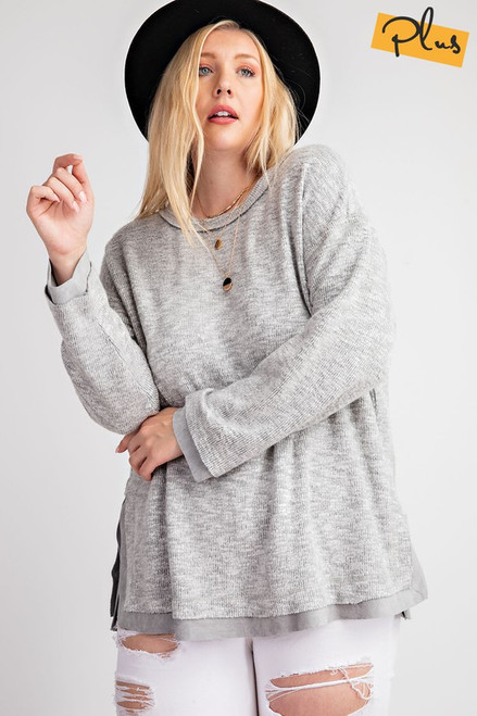 Curvy Loose Fit Brushed Knit Top, H Grey