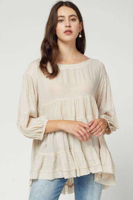 Solid Scoop Neck Tiered Top, Oatmeal