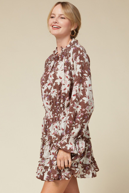 Floral Print Tiered Dress w/ Ruffle Neck, Brown