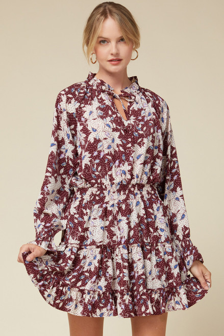 Floral Print Tiered Dress w/ Ruffle Neck, Burgundy