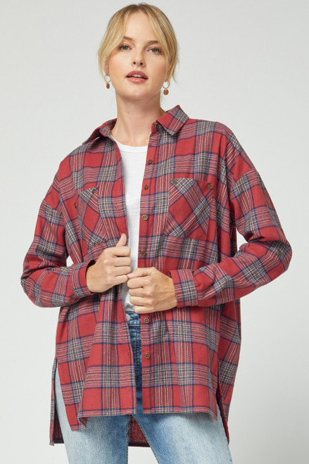 Plaid Flannel w/ Side Slits, Red