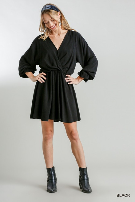 V-Neck Long Cuff Sleeve Dress, Black