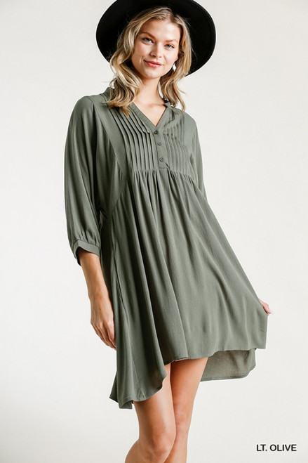 Half Button Pleated Babydoll Dress, Lt. Olive