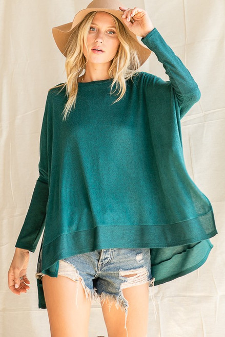 Cashmere Brushed Dolman Top, H Green
