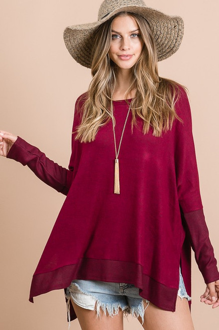 Cashmere Brushed Dolman Top, Merlot