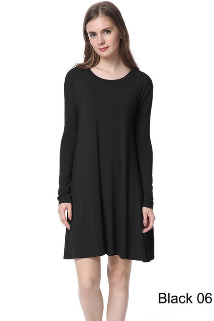 Long Sleeve Piko Swing Dress, Black